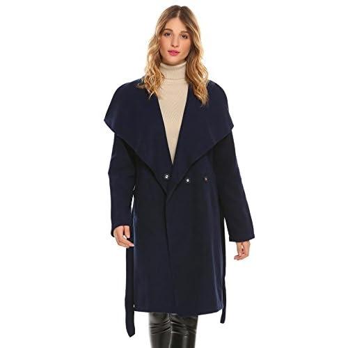 Fanala Women Fall Winter Warm Wide Lapel 2-Button Solid Casual Wool Blend Maxi Coat w/ Belt hot sale