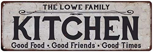 The Lowe Family Kitchen Personalized Chic Metal Sign 8 x 24 Matte Finish Metal 108240039310