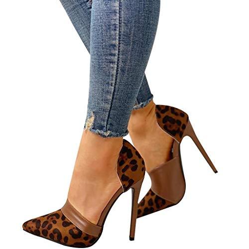 - Behkiuoda Women Point Toe High Heel Leopard Print Buckle Sandal Stiletto Pump Heel Shoes for Wedding Party Brown