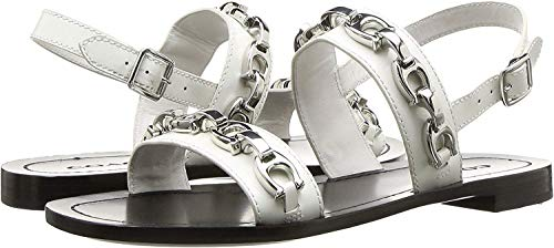 Coach Women's Eden Flat Sandal with Signature Chain Off-White 8 M US