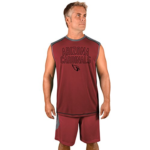 Profile Big & Tall NFL Arizona Cardinals Adult men NFL Plus S/Synthetic Muscle,4X,Storm Grey/Garnett by Profile Big & Tall