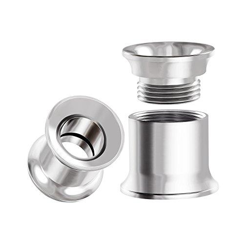 BIG GAUGES Pair Internal Screw Surgical Steel 0g Gauge 8mm Double Flared Piercing Jewelry Ear Tunnel Stretcher Earring Lobe BG0003 ()