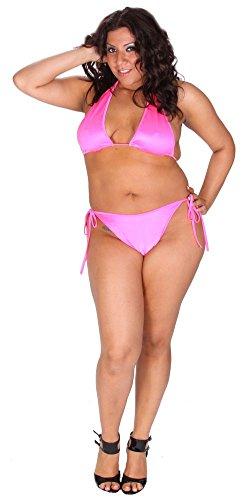 e850f21f01610 Delicate Illusions Plus Size Tall Triangle Top and Rio Scrunch Butt Bikini  8X (28-30) Neon Pink