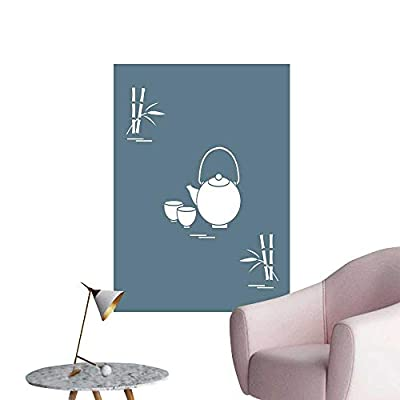 SeptSonne Wall Decals stylize icon The teapot Two Cups Bamboo Tea Ceremony Design for b ner Environmental Protection Vinyl