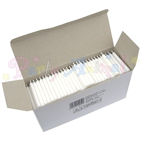 Bulk Pack of Plain Birthday Candles or Holders - Packs of 500 - Cake decoration accessories (White Candles)