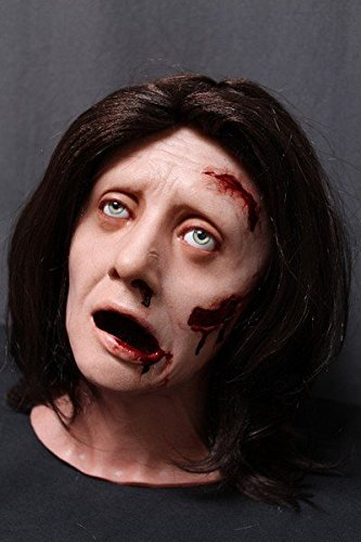 Female Zombie Head Prop (Wounded Female Zombie Head | Halloween Prop THE WALKING DEAD Haunted House Corpse BACK FROM THE GRAVE)