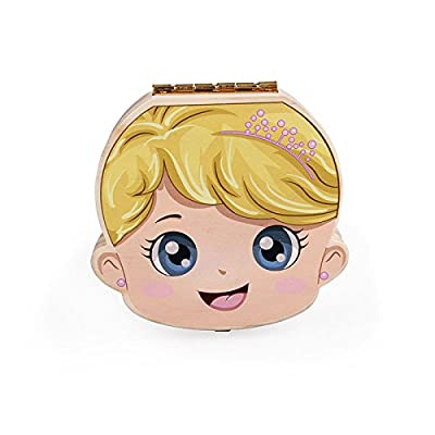 aikesi Boîte de stockage de Dents De Bébé Boîte de stockage de souvenir naissance de bois espagnol (garçon) 12.5 * 12.5 * 2.5cm fille