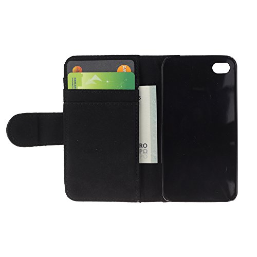 A-type (Winter Minimalist Black Horse Stallion) Colorful Impression Holster Cuir Wallet Cover Housse Peau Cas Case Coque Pour Apple Iphone 4 / 4S