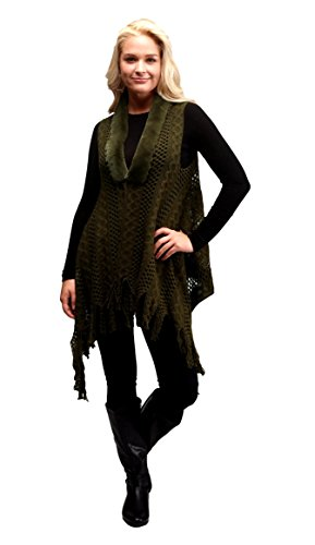 Faux Fur Trim Crochet Sweater Vest Shrug with Fringe for Women Olive Green