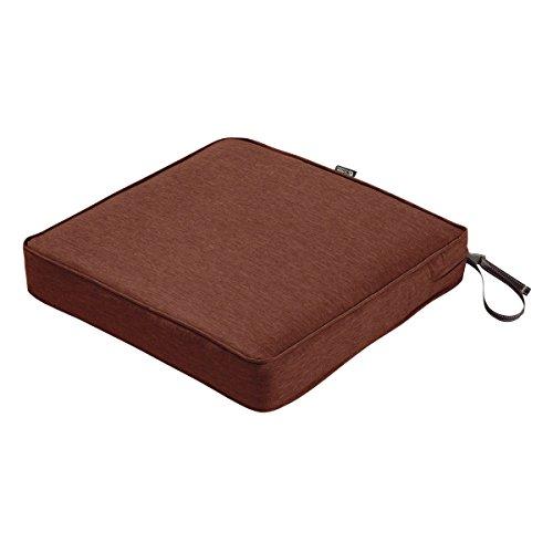 Classic Accessories Montlake Seat Cushion Foam & Slip Cover, Heather Henna, 21x21x3