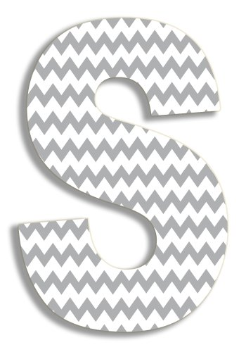 Stupell Home Décor Grey Chevron 18 Inch Hanging Wooden Initial, 12 x 0.5 x 18, Proudly Made in USA Hanging Framed Letter