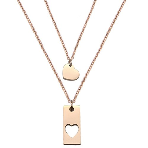 JJTZX Mother Daughter Bar Necklace Set Horizontal Bar Necklace With Cutout Heart Mommy and Me Bar Necklace Set First Day of Kindergarten Gifts (Rose gold bar set 01) (01 Gift Set)