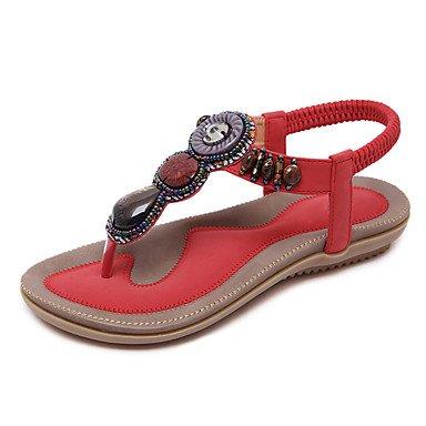 LvYuan Mujer-Tacón Plano-Otro-Sandalias-Vestido Informal Fiesta y Noche-PU-Negro Rosa Rojo Almendra Red