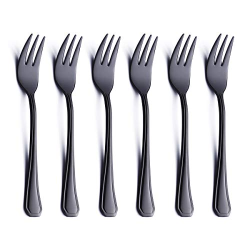 6 Piece Oyster Cocktail Fork Set Black 18/0 Stainless Steel 6.7 Inch Small Dessert Cake Fork Serving for 6 Appetizer Silverware Flatware Forks Only Bulk Modern Heavy Weight Eating Cutlery Mirror Polis ()