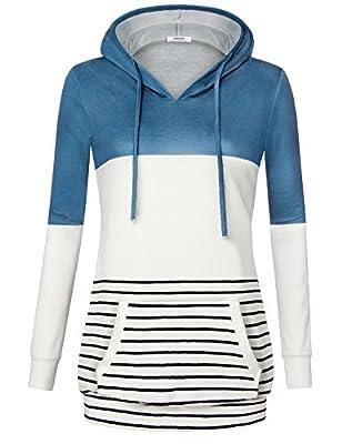 Timeson Women's Long Sleeve Color Block Hoodie V Neck Striped Drawstring Sweatshirt with Pocket