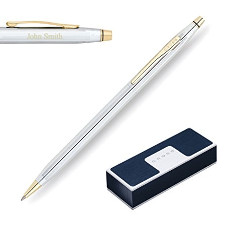 - Engraved/Personalized - Cross Classic Century Medalist Chrome & 23 Karat Gold Plated Ballpoint Pen in Gift Box - 3302