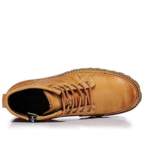 ICEGREY Herren Leder Chukka Stiefel Winter Boots Stiefeletten Kurzschaft Stiefel Gelb EU 42