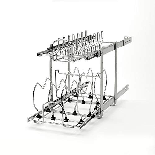 Rev-A-Shelf 5CW2-1222-CR 12-Inch 2-Tier Wire Pull Out Kitchen Cabinet Organizer for Pots, Pans, and Lid Cookware, Chrome