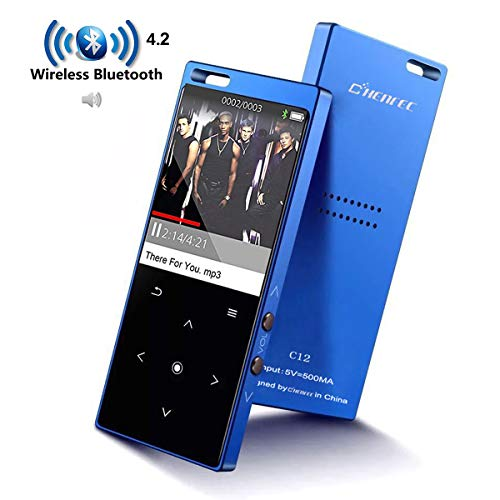 Portable MP3 Player with Bluetooth,8G Lossless Hi-Fi Sound MP3 Music Players with Touch Button/1.8TFT Screen, Built in Loud Speaker, FM Radio, Voice Recorder, Expandable up to 128 GB