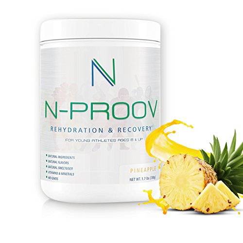 N-Proov Rehydration Electrolyte Powder & Sports Recovery Drink Mix 100% Natural Electrolyte Replacement for Young Athletes Ages 8 & up, No Sugars, No Additives, No GMOS, 1.7 lb (780g) Pineapple (Isotonic Drink Mix)