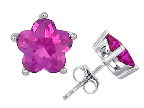 Star K Fancy Flower Shape Star Earrings Studs with Created Pink Sapphire Sterling - Flower Ring Pink Sapphire