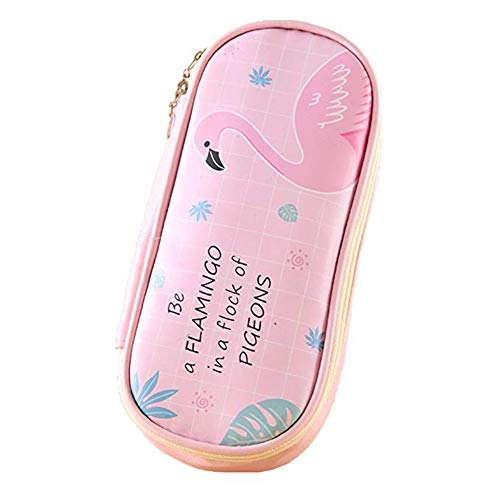 Large Capacity Flamingo Pencil Pen Case Waterproof Pencil Holders Box Stationery Bag Cosmetic Pouch Makeup Bag Desk Organizer with Zipper for School Office Supplies
