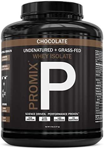 PROMIX 1 Chocolate Undenatured Grass Fed Whey Isolate. Cold Processed – Multi-stage Micro-filtration. 30G Protein 6.9G BCAA .5G Fat 2G Carbs 1g Lactose.Easy to Mix. 5LB bulk . Chocolate