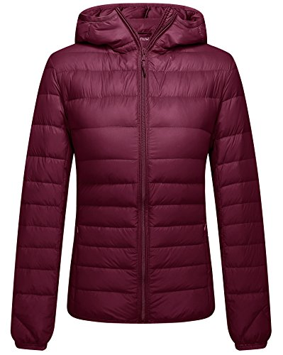 ZSHOW Women's Hooded Ultra Light Weight Down Coat Packable Powder Pillow Down Jackets, Large, Wine Red -