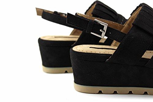 Modelisa - Sandalia Plataforma Fleco Mujer Negro