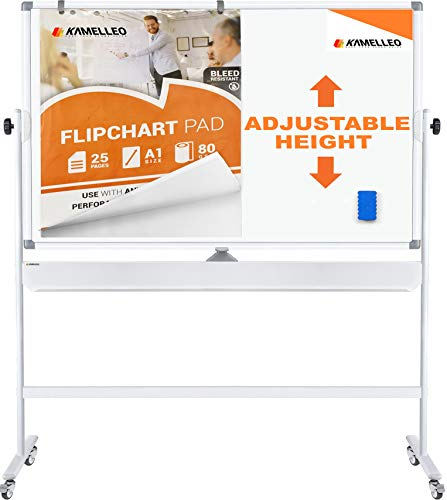 Dry Erase Board Stand (Mobile Whiteboard - Large Adjustable Height 360° Reversible Double Sided Dry Erase Board - Magnetic White Board on Wheels - Portable Rolling Easel with Stand, Flip Chart Holders, Paper Pad)