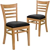 Flash Furniture 2 Pk. HERCULES Series Ladder Back Natural Wood Restaurant Chair - Black Vinyl Seat