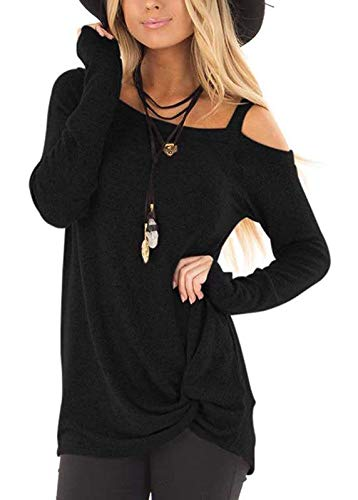 ANDUUNI Women's Loose Cold Shoulder T Shirt Casual Knot Front Long Sleeve Tunic Tops Blouse
