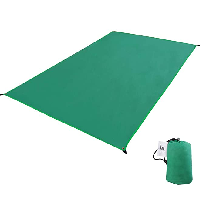Geertop 1-4 Person Portable Tent Tarp Footprint Lightweight Waterproof Rain Fly Shelter Ground Sheet Mat for Camping, Hiking,Picnic Green