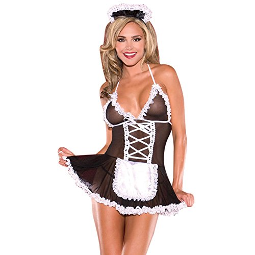 Respctful Women Sexy Lingerie Lace Splice G-String Strap Maid Outfit Dress Underwear (Black, Free Size) -