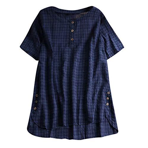 Throw College Focus (Aniywn Women Plus Size Round Neck T-Shirt Summer Loose Short Sleeve Kaftan Casual Linen Button Tunic Blouse Navy)