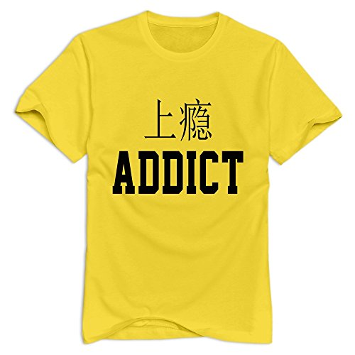 LXQL1 ADDICT T-shirt For Men - L Yellow Hot Topic Short Sleeve Yellow T Shirts For Adult (Addict Dark T-shirt)