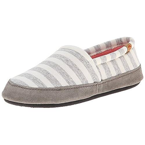 ACORN Women's Moc Summer Weight Slip-On Loafer, White Stripe, Large/8-9 M US