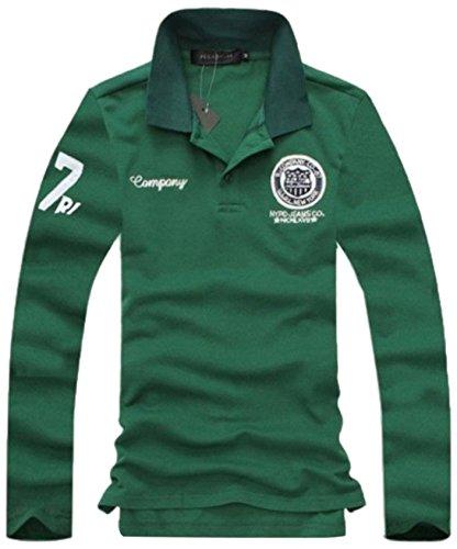 (キエモン)KIEMON ポロ シャツ メンズ カジュアル ゴルフ ウェア 長袖 緑 グリーン (XL)