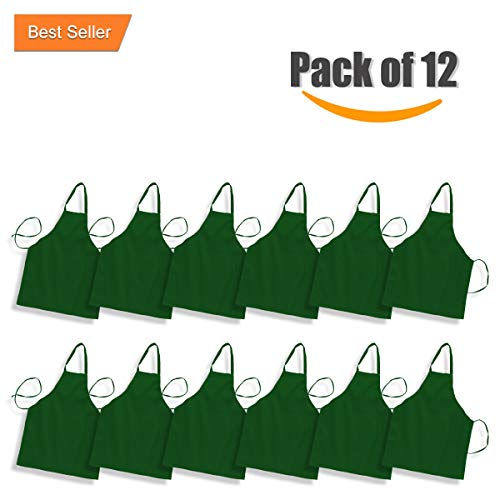 Professional Bulk Bib Aprons for Women & Men in Black, White and other Colors Commercial Kitchen Chef Cooking Apron Durable 100% Spun Polyester (Forest Green, 12)