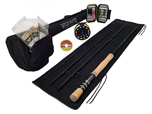 (Wild Water Deluxe 7/8 9' Rod Freshwater Fly Fishing Complete Starter Package)