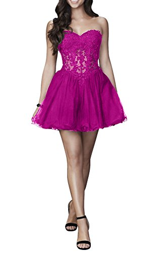 Spitze Herzauschnitt Sexy Partykleider Kurz Mini Promkleider Cocktailkleider Durchsichtig Damen Pink Charmant UqFxwAp41