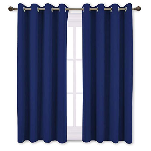 NICETOWN Blackout Window Curtains and Drapes - Thermal Insulated Solid Grommet Top Blackout Panels/Draperies for Kids Room (Royal Navy Blue, 1 Pair, 52 x 63 Inch)