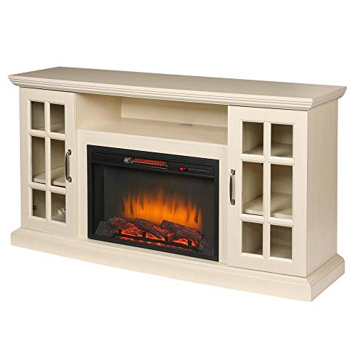 Home Decorators Collection Edenfield 59 in. Freestanding Infrared Electric Fireplace TV Stand in Aged White