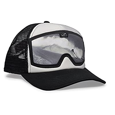 bigtruck Original Graphic Mesh Snapback Trucker Hat, Goggle White Black Slash
