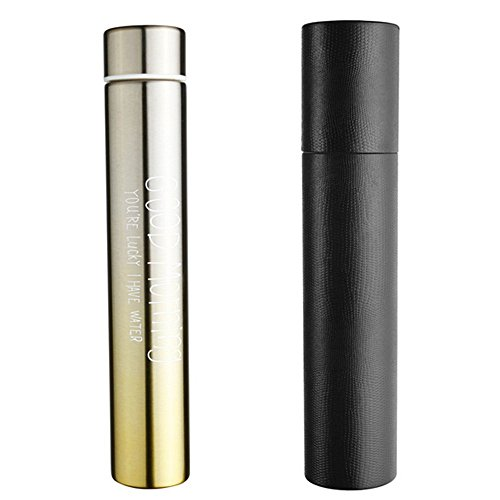 Chris-Wang Portable&Leak Proof Slim Stainless Steel Vacumn Sports Water Bottle Flask for Healthy Drinking, with Black Paper Sleeve, Great Gift Idea, Gradient Ramp Yellow(280ML)