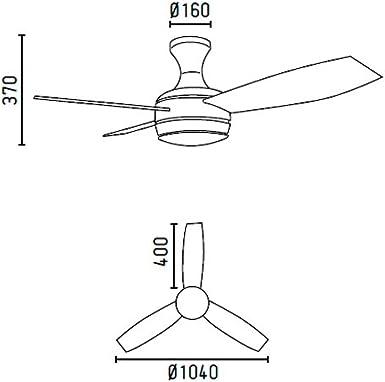 Faro Barcelona 33454 - MINI UFO Ventilador de techo con luz 3 palas madera 3 velocidades con mando a distancia: Amazon.es: Iluminación