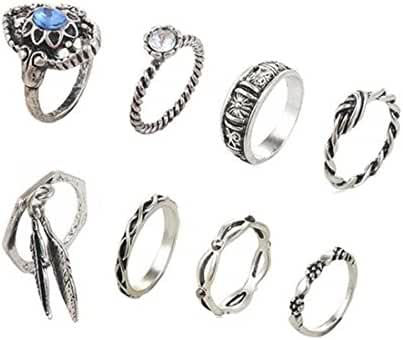 Andyle Bohemian Vintage Punk Ethnic Crystal Silver Rings Sets for Women Joint Knuckle Ring Set 8pcs