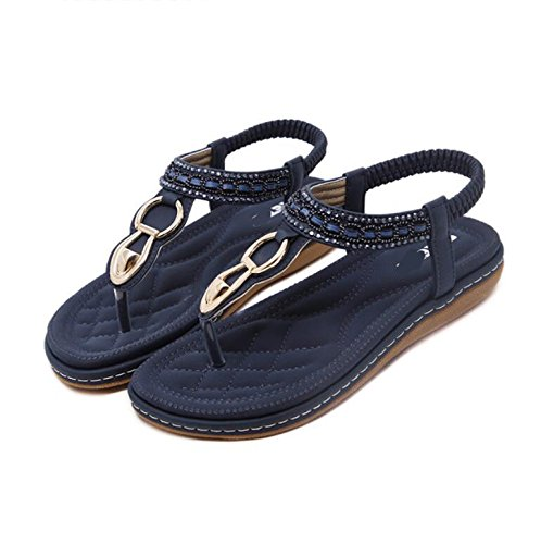KHSKX-The Korean Version Of The Female Students In The Summer Sandals Flat Bottom Water Drill Chuck And Beach Shoes Blue Flat With Large Numbers Of Women Sandals 37 ZbJ0Ryn