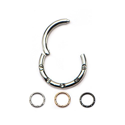 Hinged Gemmed Seamless WildKlass Septum Clicker Ring 316L Surgical Steel (Sold Individually) (16g 8mm Rose Gold) ()