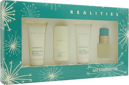 Realities By Liz Claiborne For Women. Set-edt Spray 1 Ounces & Body Lotion 1.7 Ounces & Shower Gel 1.7 Ounces & Body Powder .75 Ounces -